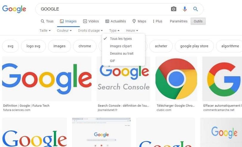 Comment trouver un type d'image sur Google ?