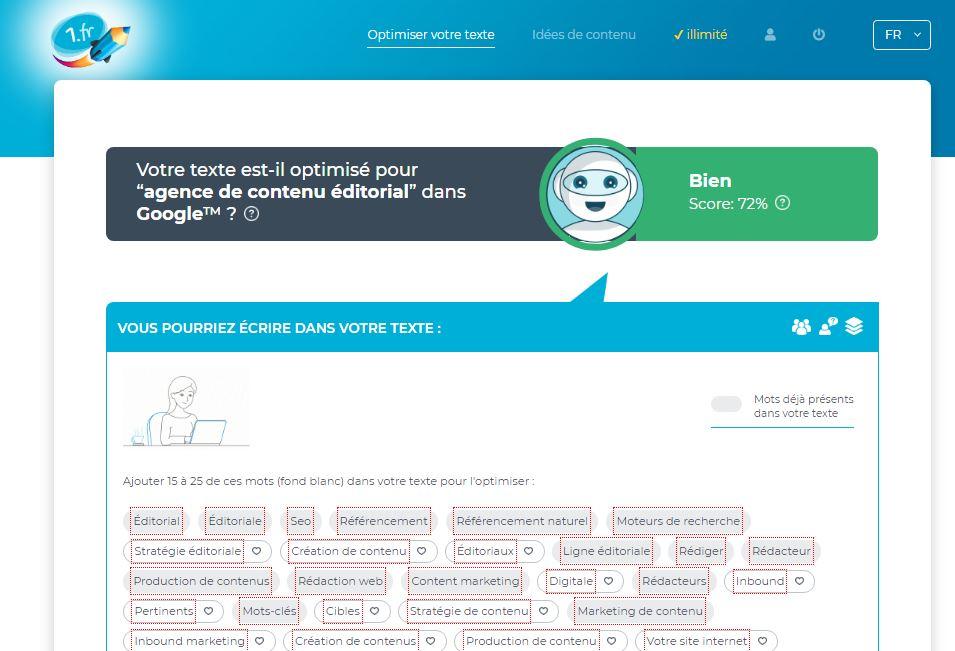 1.fr : test et avis de cet outil d'analyse sémantique!