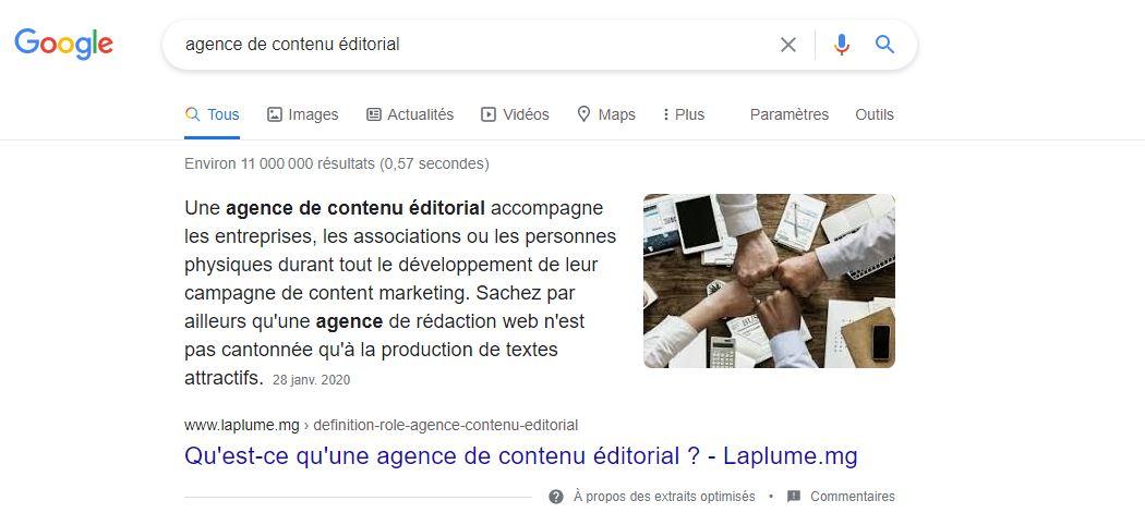 Position 0 agence de contenu éditorial